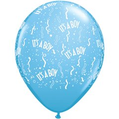 "Baloane latex 5"" inscriptionate It's a boy-a-round Pale Blue, Qualatex 46532"