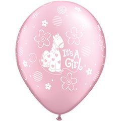 "11"" Printed Latex Balloons, It's A Girl Soft Pony Pearl Pink, Qualatex 14515"
