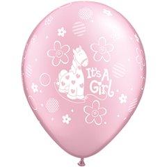 "Baloane latex 11"" inscriptionate It's A Girl Soft Pony Pearl Pink, Qualatex 14515, set 25 buc"