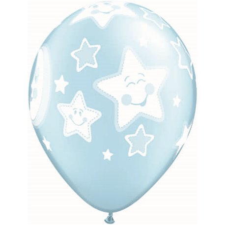"11"" Printed Latex Balloons, Baby Moon & Stars Pearl Light Blue, Qualatex 24941, Pack of 25 Pieces"