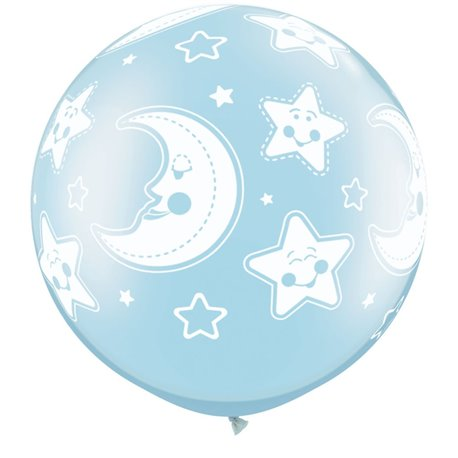 """30"""" Printed Jumbo Latex Balloons, Baby Moon & Stars-A-Round Pearl Light Blue, Qualatex 32122, Pack of 2 Pieces"""