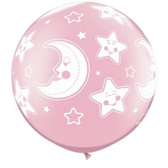 "Baloane latex Jumbo 30"" inscriptionate Baby Moon & Stars-A-Round Pearl Pink, Qualatex 32121, 1 buc"