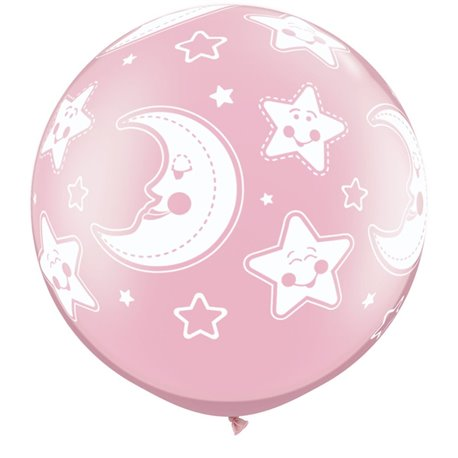 """30"""" Printed Jumbo Latex Balloons, Baby Moon & Stars-A-Round Pearl Pink, Qualatex 32121, Pack of 2 Pieces"""