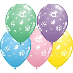 "11"" Printed Latex Balloons, Baby's Nursery Asortate, Qualatex 38888"