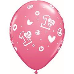 "Baloane latex 11"" inscriptionate 1st Birthday Circle Hearts – Girl Rose, Qualatex 41185, set 25 buc"