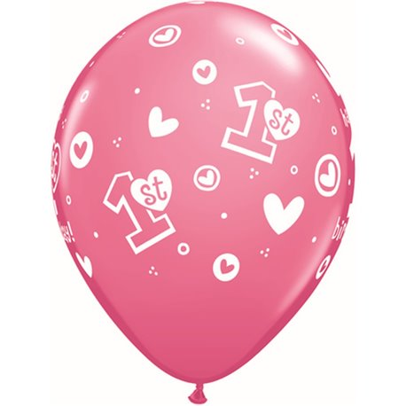 """11"""" Printed Latex Balloons, 1st Birthday Circle Hearts – Girl Rose, Qualatex 41185, Pack of 25 Pieces"""