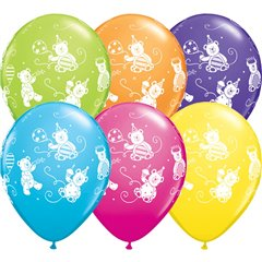 "11"" Printed Latex Balloons, Cute & Cuddly Bears Asortate, Qualatex 41095, Pack of 25 Pieces"