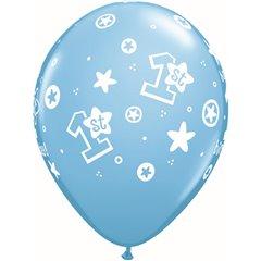 "11"" Printed Latex Balloons, 1st Birthday Circle Stars – Boy Pale Blue, Qualatex 41186"