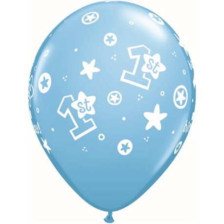 """11"""" Printed Latex Balloons, 1st Birthday Circle Stars – Boy Pale Blue, Qualatex 41186, Pack of 25 Pieces"""
