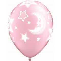 """11"""" Printed Latex Balloons, Baby Moon & Stars Pearl Pink, Qualatex 24940"""