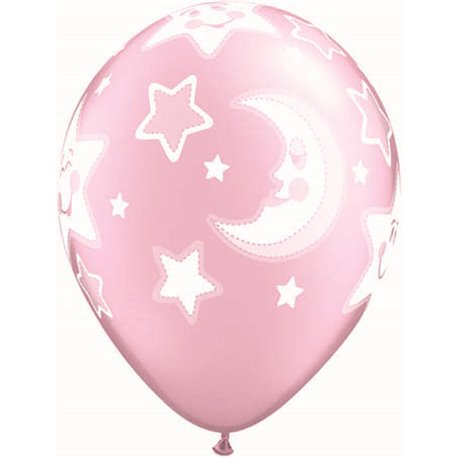 "Baloane latex 11"" inscriptionate Baby Moon & Stars Pearl Pink, Qualatex 24940, set 25 buc"