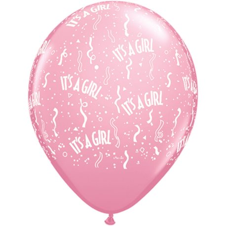 "11"" Printed Latex Balloons, It's A Girl-A-Round Pink, Qualatex 11731, Pack of 50 Pieces"