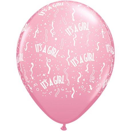 "Baloane latex 11"" inscriptionate It's A Girl-A-Round Pink, Qualatex 11731, set 50 buc"