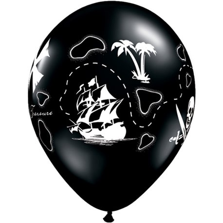 "Baloane latex 11"" inscriptionate Pirate's Treasure Map Onyx Black, Qualatex 81994, set 100 buc"