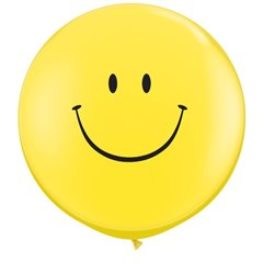 Baloane latex Jumbo 3 ft' inscriptionate Smile Face Yellow, Qualatex 29211,1 buc