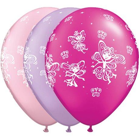 "11"" Printed Latex Balloons, Fairies & Butterflies Asortate, Qualatex 21573, Pack of 25 Pieces"