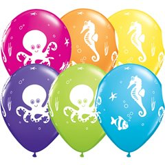 "11"" Printed Latex Balloons, Fun Sea Creatures Asortate, Qualatex 28983"