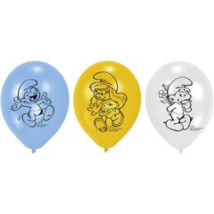 "Baloane latex 8"" inscriptionate Smurfs Asortate, Amscan 450273, set 6 buc"