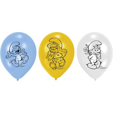 "Baloane latex 8"" inscriptionate Smurfs Asortate, Amscan 450273, set 6 buc"