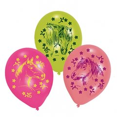 "8"" Printed Latex Balloons, Horses Assorted, Amscan 450153, Pack of 6 pieces"