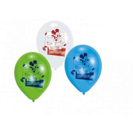 "Baloane latex 8"" inscriptionate Mickey Mouse Happy Birthday Asortate, Amscan 450233, set 6 buc"