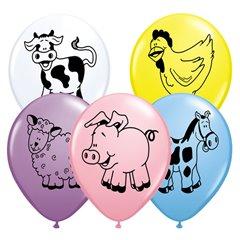 "11"" Printed Latex Balloons, Farm Animal Asortate, Qualatex 76477"