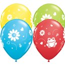 "11"" Printed Latex Balloons, Frogs & Daisies Asortate, Qualatex 38885, Pack of 25 Pieces"