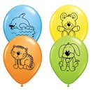 "11"" Printed Latex Balloons, Cuddly Pets Asortate, Qualatex 47274, Pack of 25 Pieces"