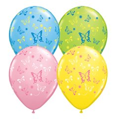 "11"" Printed Latex Balloons, Butterflies Asortate, Qualatex 38428, Pack of 50 Pieces"