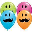 """5"""" Printed Latex Balloons, Smile Face Mustache Asortate, Qualatex 60933, Pack of 100 Pieces"""
