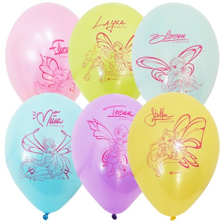 "Baloane latex 12"" (30cm) inscriptionate Winx Club Asortate, Gemar 301694, set 6 buc"