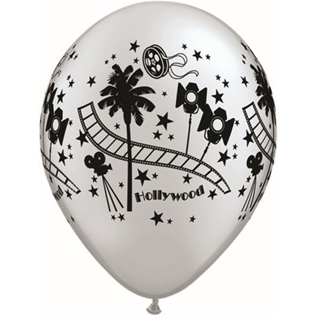 """11"""" Printed Latex Balloons, Hollywood Stars Silver, Qualatex 92037, Pack of 25 Pieces"""