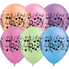 "11"" Printed Latex Balloons, Music Notes Neon Asortate, Qualatex 45265"