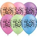"Baloane latex 11"" inscriptionate Music Notes Neon Asortate, Qualatex 45265, set 25 buc"