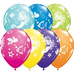 "11"" Printed Latex Balloons, Merry Mermaid & Friends Assorted, Qualatex 18460"