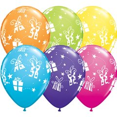 "11"" Printed Latex Balloons, Presents & Stars Asortate, Qualatex 60131"
