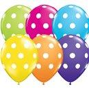 """5"""" Printed Latex Balloons, Big Polka Dots Asortate, Qualatex 36711, Pack of 100 Pieces"""
