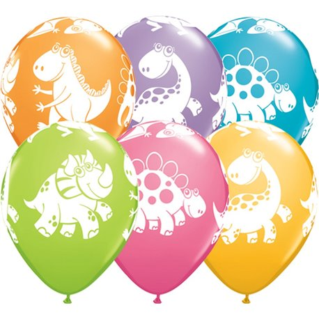 "Baloane latex 11"" inscriptionate Cute & Cuddly Dinosaurs Asortate, Qualatex 36985, set 25 buc"
