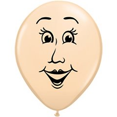 "16"" Printed Latex Balloons Woman's face Blush, Qualatex 99311"