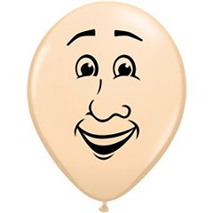 "16"" Printed Latex Balloons Men's face Blush, Qualatex 99309"