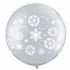 """30"""" Printed Jumbo Latex Balloons Snowflakes & Circles Silver, Q 60282"""