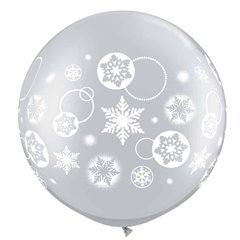 "Baloane latex Jumbo 30"" inscriptionate Snowflakes & Circles Silver, Qualatex 60282, 1 buc"