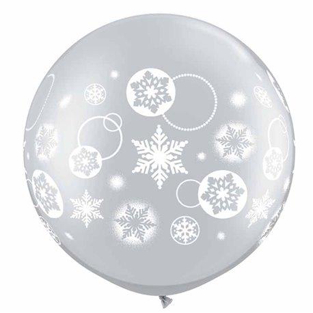 "30"" Printed Jumbo Latex Balloons, Snowflakes & Circles Silver, Qualatex 60282, Pack of 2 Pieces"