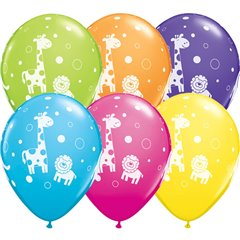 "11"" Printed Latex Balloons, Cute & Cuddly Jungle Animals Asortate, Qualatex 36988, Pack of 25 Pieces"