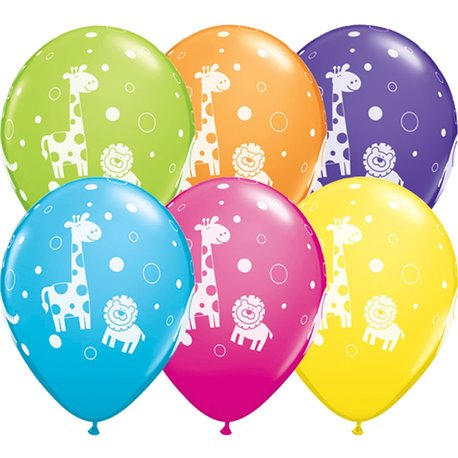 """11"""" Printed Latex Balloons, Cute & Cuddly Jungle Animals Asortate, Qualatex 36988, Pack of 25 Pieces"""