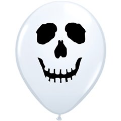 "5"" Printed Latex Balloons, Skull Face White, Qualatex 96597, Pack of 100 Pieces"