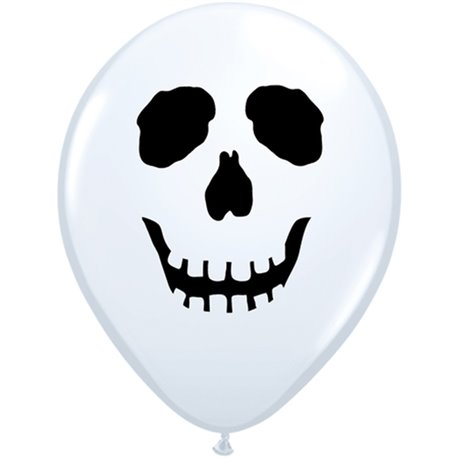 """5"""" Printed Latex Balloons, Skull Face White, Qualatex 96597, Pack of 100 Pieces"""