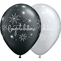 "11"" Printed Latex Balloons, Congratulations Elegant Asortate, Qualatex 36989"