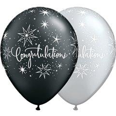 "Baloane latex 11"" sidef inscriptionate, Congratulations Elegant Asortate, Qualatex 36989"