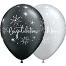 "11"" Printed Latex Balloons, Congratulations Elegant Asortate, Qualatex 36989, Pack of 25 Pieces"